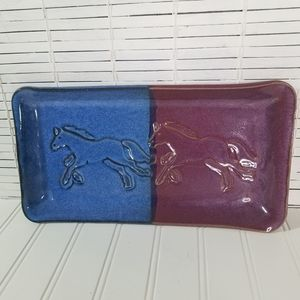 Cape Fear Pottery Stoneware Serving Tray Horses